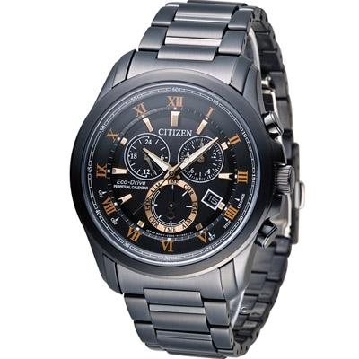 CITIZEN 光動能雙時區萬年曆限定腕錶(BL5545-50E)-黑x玫瑰金/43mm