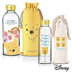 迪士尼 微笑維尼耐熱玻璃瓶袋2入組370ml+1L(快)