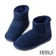 HERLS-全真皮-舒適毛絨短筒雪靴-深藍色