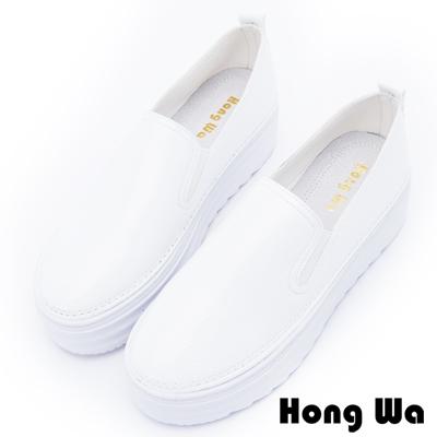 Hong Wa 舒適簡約牛皮厚底懶人鞋 - 白