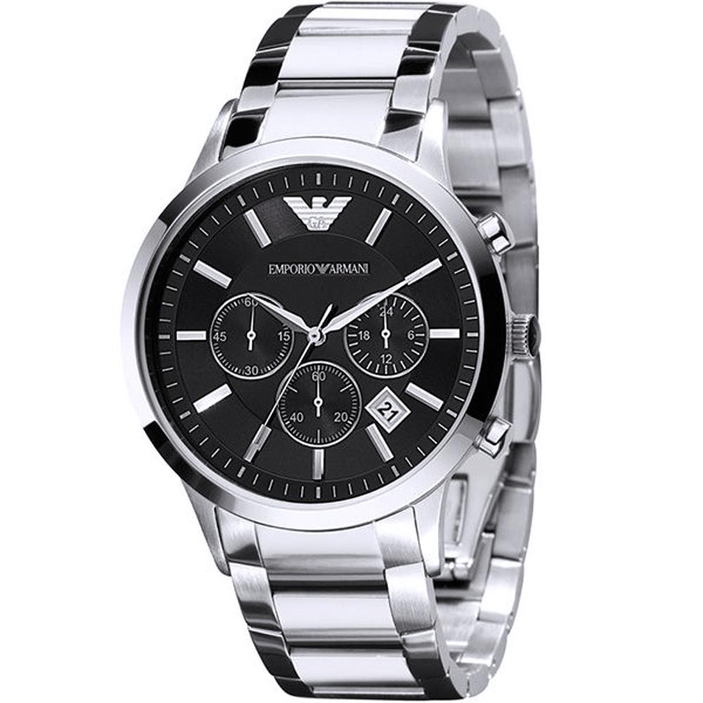 ARMANI 亞曼尼經典質感三眼計時手錶-黑X銀/43mm