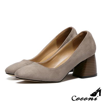 CoConi-粗跟鞋-方頭淺口-卡其