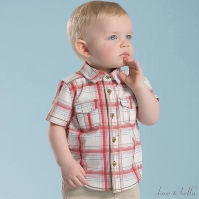 Dave Bella 紅白格紋休閒短袖格子襯衫