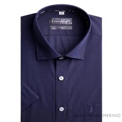 ROBERTA諾貝達 進口素材 台灣製 合身版 簡約短袖襯衫 深藍
