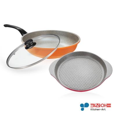 韓國Kitchen Art 時尚清新鈦石雙鍋組-炒鍋28cm+烤盤28cm