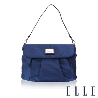 ELLE 法式優雅時尚風貌手提/肩背包款 百褶側包淑媛設計 搭配質感頭層皮-寶藍