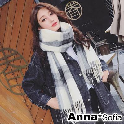 AnnaSofia 知性氣質格紋 厚織仿羊絨大披肩圍巾(米灰系)