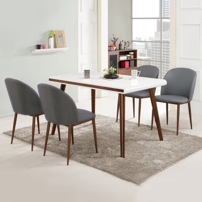 Bernice-碧莉絲4.3尺玻璃餐桌椅組(一桌四椅)兩色-130x80x77cm