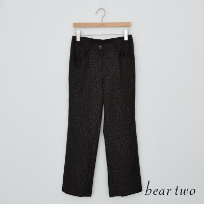 beartwo 豹紋皮革直筒褲(黑色)