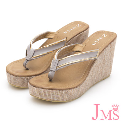 JMS-高質感素雅滾金邊夾腳厚底楔型涼拖-灰色