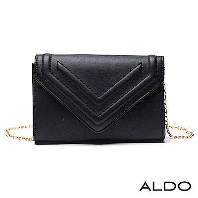ALDO 原色幾何壓紋手拿鏈帶兩用包~尊爵黑色