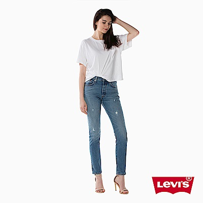 Levis 女款 501 Skinny 高腰排釦牛仔長褲 彈性布料