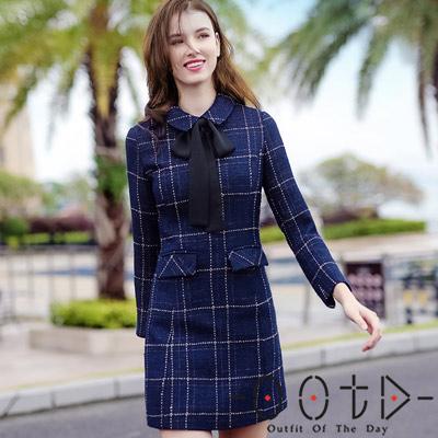 復古英倫風格紋加絨長袖洋裝 (深藍色)-OOTD