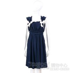 PAOLA FRANI 深藍色皺褶蝴蝶結飾洋裝
