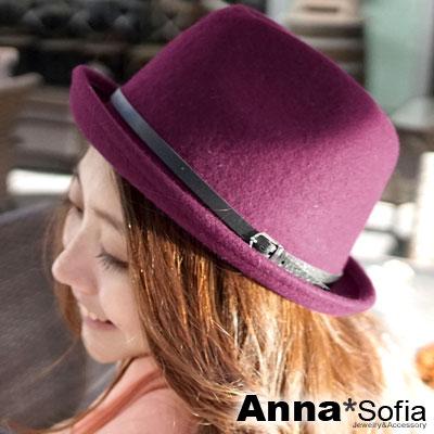AnnaSofia 細釦革帶翻簷 純羊毛紳士帽(酒紅)
