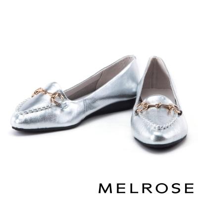 平底鞋 MELROSE 經典金屬釦牛皮尖頭平底鞋-銀