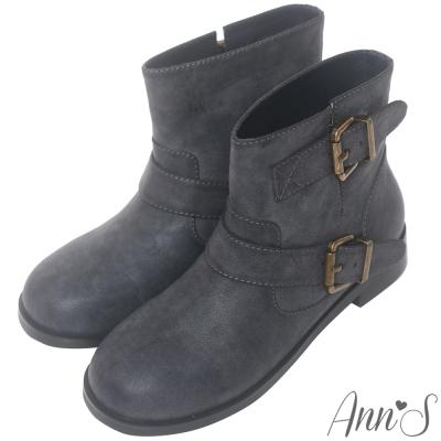 Ann'S復古擦色古銅雙帶圓頭平底短靴-深藍