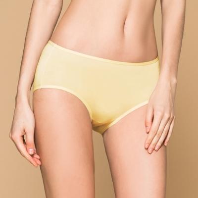 台灣製 保養級天然蠶絲蛋白低敏感透氣 M-XL 中腰內褲 初暮黃 可蘭霓Clany