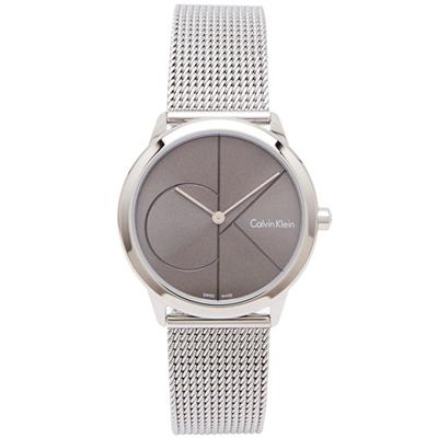 CK  極簡LOGO風格米蘭帶手錶(K3M22123)-灰黑面x銀色/34mm