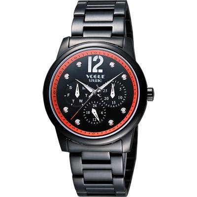 VOGUE 都會時尚藍寶石日曆腕錶-IP黑x橘/38mm