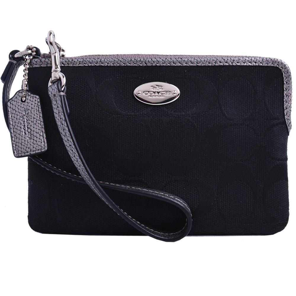 COACH 圓標LOGO織布飾皮革拉鍊手拿包-黑/銀