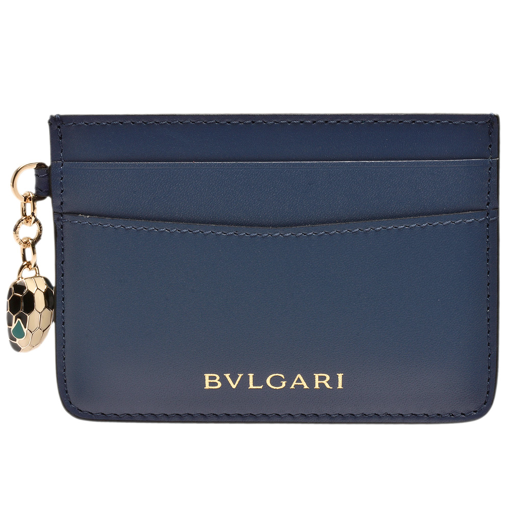 BVLGARI 經典Serpenti系列小牛皮琺瑯蛇頭墜飾信用卡夾(靛藍拓帕石色)
