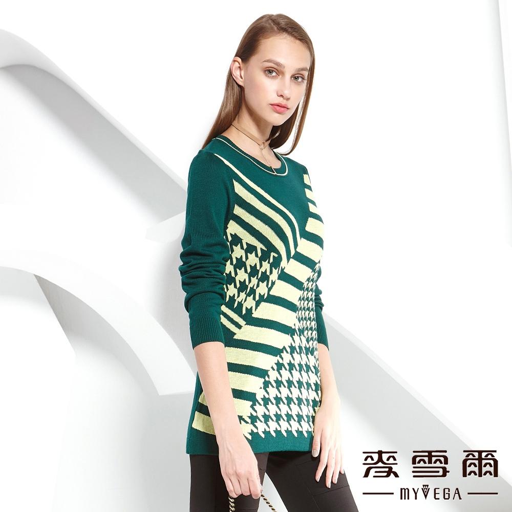麥雪爾 千鳥格紋長版針織上衣-綠