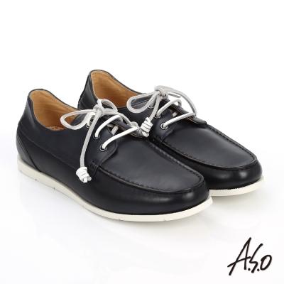 A.S.O 輕量抗震 蠟感真皮綁帶奈米帆船鞋 深藍色