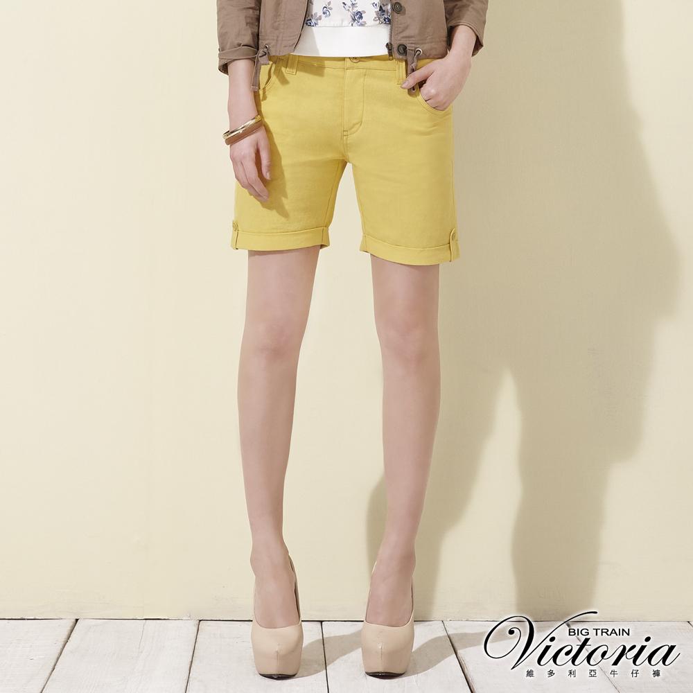 Victoria 中高腰棉麻色染捲口短褲-女-黃
