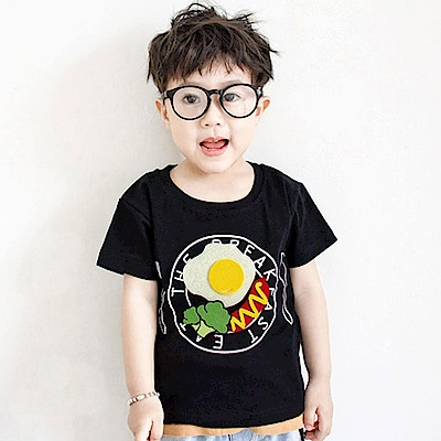 Baby unicorn 黑色可拆式食物短袖上衣