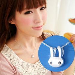 【維克維娜】日系童趣。可愛大眼睛小兔子 925純銀項鍊