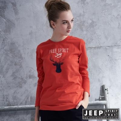 JEEP 女裝 質感馴鹿圖騰造型長袖TEE-橘紅色