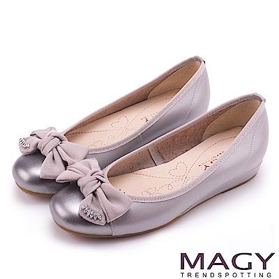 MAGY 甜美混搭新風貌 蝴蝶結水鑽牛皮娃娃鞋-灰色
