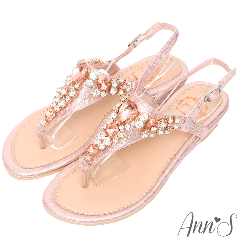 Ann'S透徹水鑽寶石夾腳小坡跟夾腳涼鞋-粉