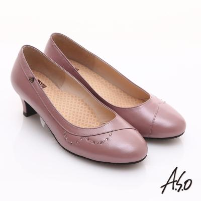 A.S.O舒活寬楦 全真皮弧形水鑽造型低跟鞋  粉紅