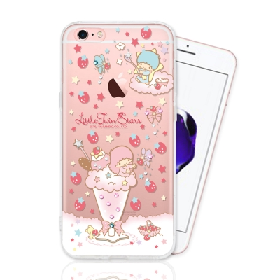 KIKILALA 雙子星 iPhone 6 / 6s 彩繪空壓手機鑽殼-草莓奶昔