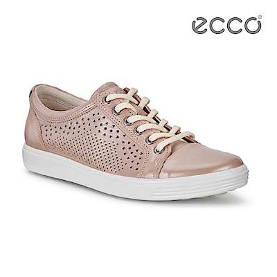 ECCO SOFT 7 LADIES 鏤空蕾絲雕花輕便休閒鞋-粉 @ Y!購物