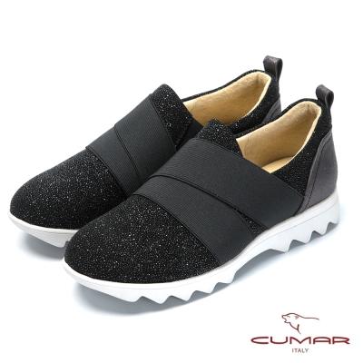 CUMAR時尚休閒風 金屬色系舒適休閒鞋-黑色