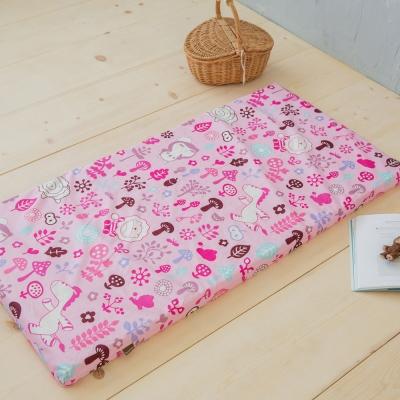 奶油獅-好朋友系列-台灣製造-100%純棉5CM嬰兒床墊專用布套(70*130cm)俏麗粉