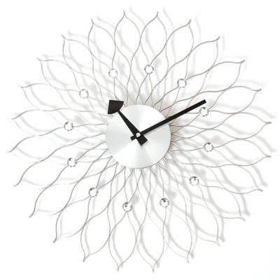 a.cerco 太陽花鋁製掛鐘-銀色