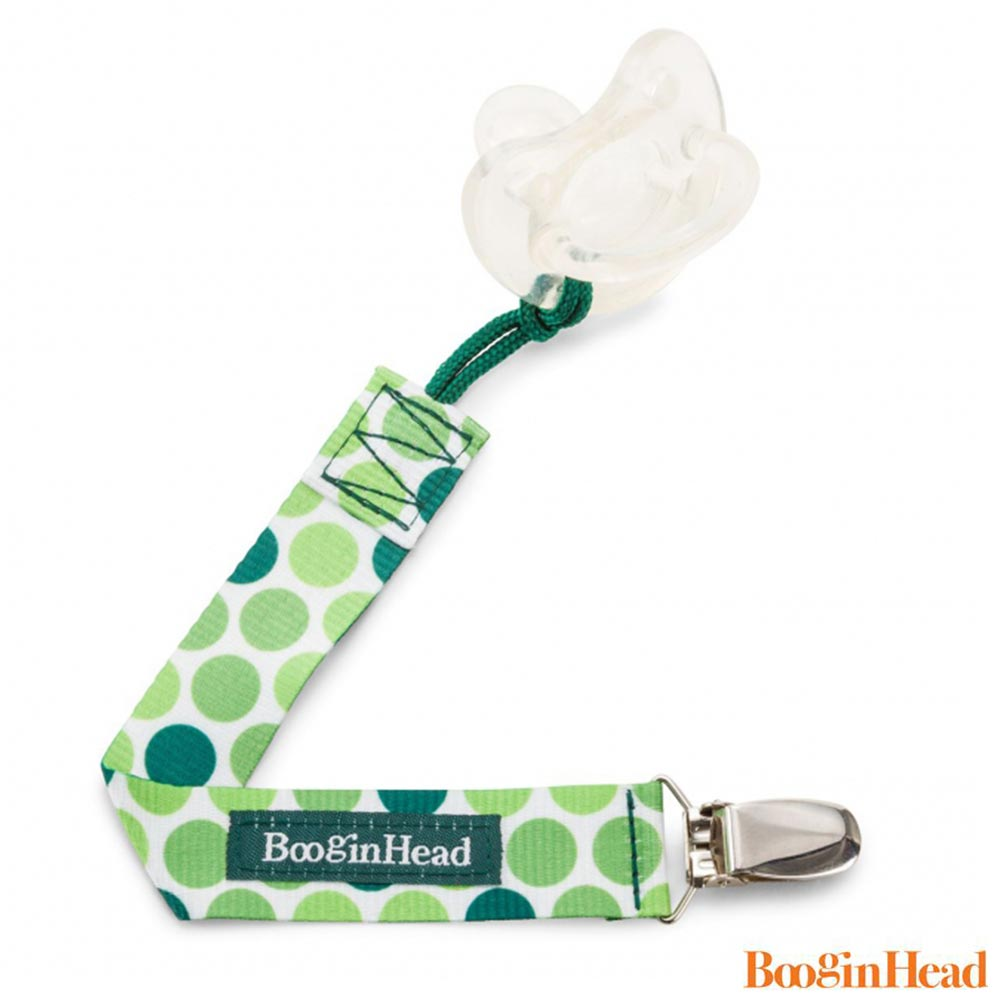 BooginHead 美國 白底綠點款 奶嘴夾