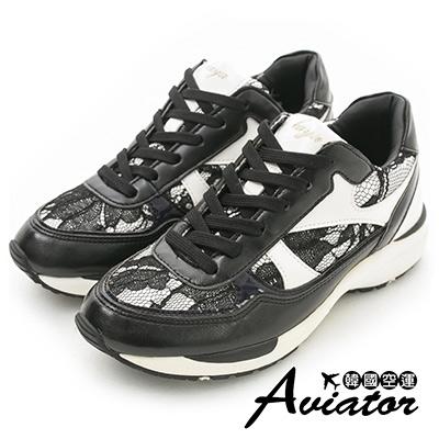 Aviator*韓國空運。正韓製蕾絲皮革幾何拼接造型休閒運動鞋-黑