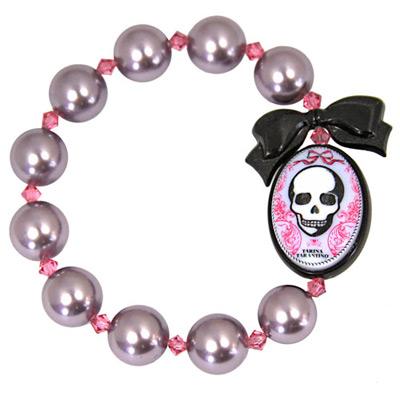 【TARINA TARANTINO】骷髏薰衣草紫色系列珍珠手環