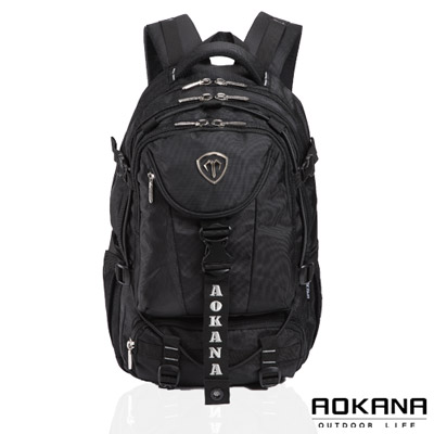 AOKANA奧卡納 台灣釦具 防潑水護脊紓壓電腦後背包(銀灰標)68-067