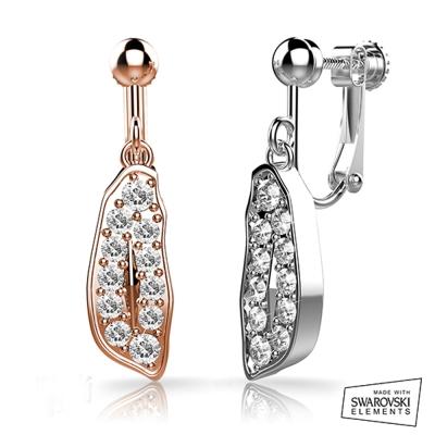 法國LOUMI 施華洛世奇美麗寶島-夾式耳環