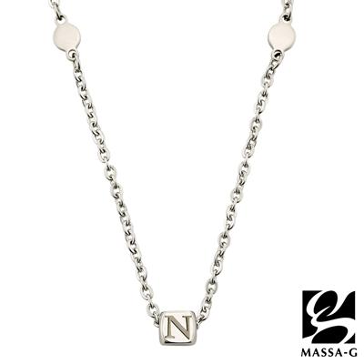 MASSA-G 字言字語金屬鍺錠白鋼項鍊-N~Z