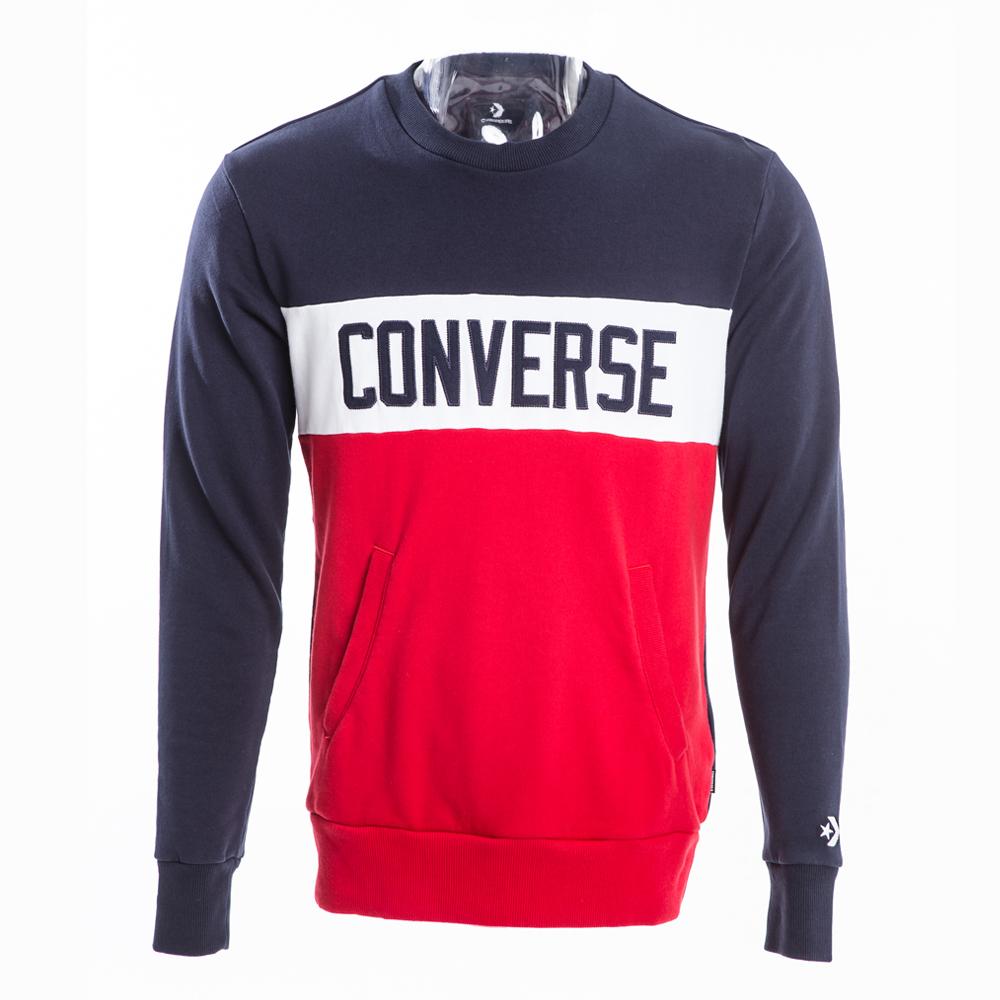 CONVERSE-男休閒長袖上衣10007807A02-藍紅