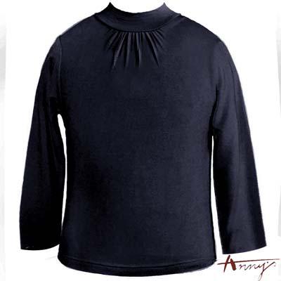 Anny超親膚圓領抓皺造型天絲棉長袖上衣*2435藍