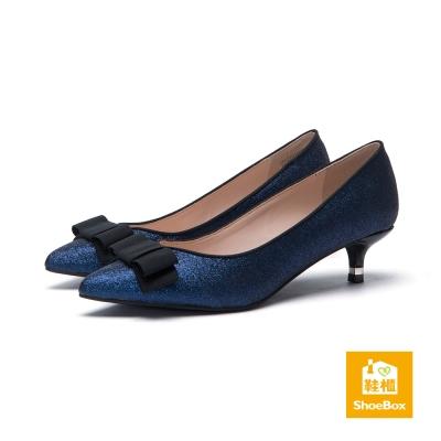 達芙妮DAPHNE-dulala系列-蝴蝶結金蔥布尖頭高跟鞋-藍