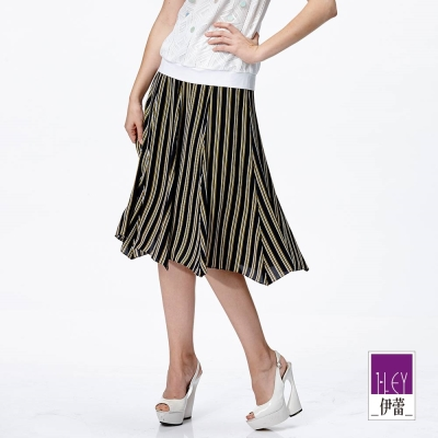 ILEY伊蕾-黃白細條八片長裙